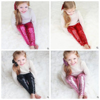 Wholesale Dance Costumes Leggings - Kids Sequins Leggings Glitter Pants Glow Girls Trousers Fashion Boutique Long Tights Girls Bling Dance Party Sequins Trousers Costume J578