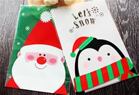 Wholesale Penguin Ornaments - Wholesale-10Pcs Santa Claus Penguin Christmas Gift Treat Bags Plastic Cookies Biscuits Candy Packaging Bag Birthday Party Wedding Favor