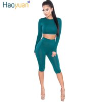 Wholesale Sexy Track Suits - 2 Piece Set Women Sexy Long Sleeve Top And Shorts Track Suit 2017 Autumn Bodycon Tracksuit Clothing Casual Two Pieces Outfits 17301