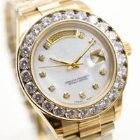 Wholesale Diamond Big - 2017 President Day Date 18K Gold Perpetual fashion mens watch Big diamond Bezel Gold Stainless steel original strap Automatic men Watches