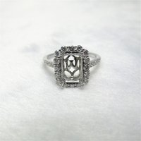 Wholesale Emerald Cut Semi Mounts - Emerald Cut 6.5x9mm Solid 14Kt White Gold Natural Diamond Semi Mount Ring