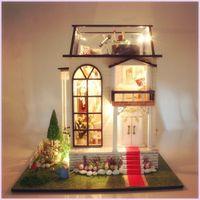 Wholesale Townhouse Dollhouse Furniture - Diy Doll House Miniature Wooden Building Model Little Prince Rose Dollhouse Furniture Model Toys of houses For Children