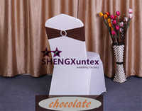 Wholesale Spandex Chocolate Chair Covers Wholesale - Chocolate Color Lycra Spandex Chair Band With Buckle Used On Wedding Spandex Chair Cover Free Shipping