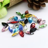 Wholesale gemstone heating - 2x4mm Navette Fancy Stone Marquise Pointed Back Glass Crystal Gemstone for Jewelry Making 100pcs bag (10 Different Color Available)