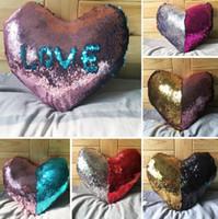 ingrosso cuore del cuscino-Paillettes Mermaid Pillow Case a forma di cuore Federa 35 * 40 cm Bright Glitter Car Cuscino Divano di casa Decorazione 5 disegni I024