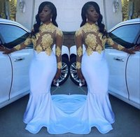 Wholesale Girls Silk Shirt - Sexy Sheer African White Gold Prom Dresses 2017 Mermaid Appliques Beaded Lace Black Girl Long Sleeve Evening Celebrity Party Gowns