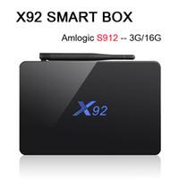 octa çekirdek hdmi toptan satış-Amlogic S912 3G 16G X92 Octa Çekirdekli 64bit Android 7.1 TV KUTUSU 2G 16G Çift Wifi HDMI 4 K H.265 BT4.0 Akıllı Medya Oynatıcı VS X96 H96 S905X