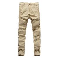 Wholesale biker designs - Khaki Biker Jeans Pleated Design Mens Skinny Slim Stretch Denim Pants Hip-Hop Street Ripped Jeans