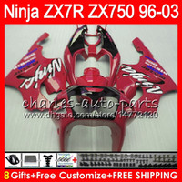 Wholesale 1996 Zx7r Red - 8Gifts 23Colors For KAWASAKI NINJA ZX7R 96 97 98 99 00 01 02 03 18NO41 TOP red black ZX750 ZX 7R ZX-7R 1996 1997 1998 2001 2002 2003 Fairing