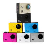 su altı lens toptan satış-Eylem kamera eken h9 ultra hd 4 k wifi 1080 p / 60fps 2.0 LCD 170D lens Kask Kamera sualtı su geçirmez kamera SJ 4000 tarzı