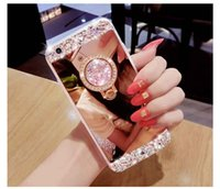 Luxo Handmade Bling Diamond Crystal Holder Case Kickstand Mirror Phone Cover para iPhone X 8 Plus 7 6 6S Samsung S8 Plus S7 edge Nota 8