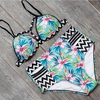 Wholesale High Waisted Two Piece Swimsuits - New Sexy Bikinis Women Swimsuit High Waisted Bathing Suits Swim Halter Push Up Bikini Set L Size Swimwear