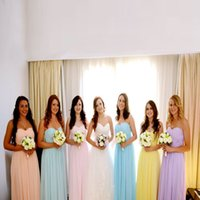 Wholesale Cheap Prom Desses - Elegant Colorful Sweetheart Bridesmaid Dress Hot Chiffon Floor-Length Pleats Formal Gowns Custom Made Long Cheap Prom Desses