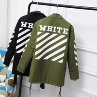 Wholesale Women S Trench Coat Pattern - Fashion Trench Coat Men And Women Classic Stripe Windbreaker Off White Skateboards Windproof Jackets Kanye West Jacket Free Shipping