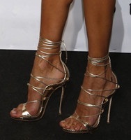 schwarze taupe sandalen großhandel-Hot Fashion Schwarz Gold Python Leder Schnürung Gladiator Sandalen Frauen Plattformen Stiletto High Heels Riemchen Sexy Cut Out Booties Frau Pumpen