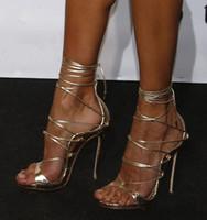 siyah strappy platformlar toptan satış-Sıcak Moda Siyah Altın Python Deri Lace Up Gladyatör Sandalet Kadın Platformları Stiletto Yüksek Topuklu Strappy Seksi Cut Out Patik Kadın Pompaları