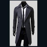 mens wolljacken verkauf großhandel-Großverkauf- heißer Verkauf Mens-Designer-Kleidungs-britische Art-Trenchcoat-Winter-Herbst-Wolljacke Windbreaker-Mann-Mantel Casacos 2M0135