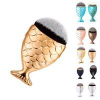 Wholesale Best Face Brush Set - Best Quality !! With Cap Mermaid oval brushes Foundation Brush Face Gold Cosmetics Blush Powder Makeup Brushes Set 6 colors