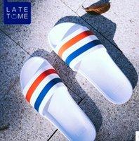 Wholesale Black Floral Print Heels - 2017 mens slide striped sandals with rubber sole with web rubber strap boys fashion indoor flip flop