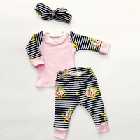 Wholesale Baby Long Sleeve Stripe Top - Baby Girls Flower Tee Top Set with Stripe Pants and Headband Kids Spring Boutique Clothing Euro America Baby Long Sleeves 3 Piece Set