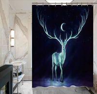 Wholesale Tree Print Curtain - waterproof Curtain Window Treatments Home Textiles Color life tree elk creative digital printing Shower curtains 1231