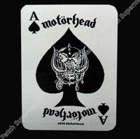 Wholesale Woven Patches Wholesale - England MOTORHEAD ace of spades card 2014 WOVEN Music Band Heavy Metal Iron On Patch MOTIF APPLIQUE Rock Punk Badge