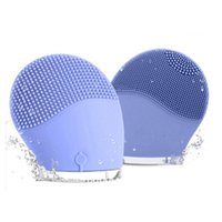 Wholesale Rechargeable Mini Massager - Mini Electric Facial Brush Cleaner Silicone Waterproof Ultrasonic Instrument Facial Skin Care Spa Massager Face Pore Cleaner Beauty Tool