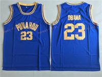 Wholesale Cheap Mesh Shirts - Cheap Barack Obama Punahou High School Throwback Basketball Jerseys #23 Barack Obama President Stitched Navy Blue Shirts Mesh Jersey S-XXL