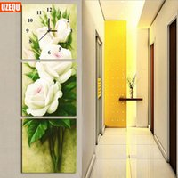 Wholesale Cross Stitch Clocks - UzeQu Triptych 5D DIY Wall Clock Diamond Painting Cross Stitch Peony Flower Watch Diamond Embroidery Mosaic Painting Rhinestones
