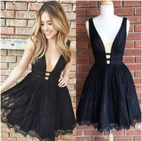 Wholesale Homecoming Coctail Dresses - New Style Sexy Black Short Homecoming Dresses V-Neck Lace Knee Length Evening Prom Dresses Coctail Party Gowns Custom Made