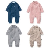 Wholesale Winter Down Baby Jumpsuits - New Winter Baby Boy Clothes Warm Long Sleeved Jumpsuit Baby Girl Clothes Romper Climbing Clothes Baby Trade MR054