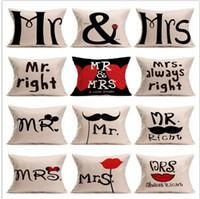Wholesale Mrs Right - Linen pillow case Cartoon Couple Mr & Mrs Mouse Mr Right Throw Pillow Case Home Textile Cushion Case Cover Pillowslip 15 design KKA2100