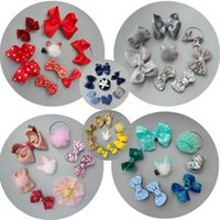 Wholesale Korea Sweet Girls - 2017 New Korea Style Baby Girl Sweet Hair Clip Polka Dot Bow Hairpin Children Hair Accessories With Paper Box 8pcs in 1 Set D255