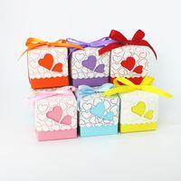 Wholesale Free Ribbon Crafts - Free Shipping 10 unids Heart Wedding Favor Candy Box with Ribbon wedding souvenirs decoration mariage wedding souvenir