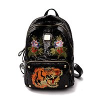 Wholesale Luxury School Bags - Women Sequins Backpacks luxury Brand Ladies Fashion Backpacks For Teenagers Girls School Bags Travel Bags Mochila