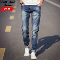 Wholesale-2016 Plus Size Light Blue Jeans Uomo conici 4XL 5XL 36 38 slim fit denim jeans casuali Jean grande matita Size Pants