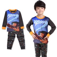 Wholesale sets Children Cotton Pajamas Set Cartoon Character Moana Maui Printing Clothing Set Long sleeve Shirt and Pants Set Homewear