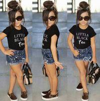 Wholesale Girls Pieces Sets Jeans - Ins Girls Clothing Sets 2017 Summer Short Sleeve Cotton Letters T-shirts + Shorts Jeans 2pcs Clothes Suit Children Girl Outfits 13209
