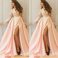 Wholesale saw sales for sale - Group buy Sale Saudi Arabic High Split Prom Dresses Long Sleeve Light Pink See Through Top Formal Evening Gowns with Lace Appliques Fall Winter