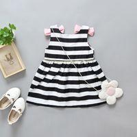 Wholesale Girls Frocks Dresses - Summer White And Black Stripe Kids Girl Dress 2017 Baby Girl Party Dress Children Frocks Designs Backless Dress Patterns