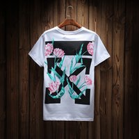Men black tulips - 2017 OFF WHITE T shirt Tulip Arrows Printed Short Sleeve Tee Men Women White Black Street Tees Summer Skate Shirts Tops YBG0804