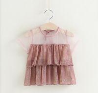 Wholesale Korean Tee Shirts Wholesale - 2017 Baby Girls Lace T-shirts Kids Girls Fashion Shinny Tees Babies Summer Korean Jumper tops Childrens clothing