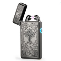 Wholesale Electronic Cigarette Alloy Case - High Quailty Cross Double Arc Lighter Case USB Pulse Windproof Lighters USB Electronic Metal Men Cigarette lighter Free DHL Shipping