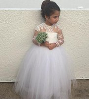 Wholesale Girls Puffy White Bridesmaid Dress - Puffy Girls Pageant Dresses for Toddlers Long Junior Bridesmaid Sheer Neck Lace Appliques Flower Girl Dresses with Long Sleeves
