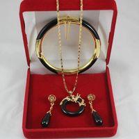 Wholesale Yellow Gold Jewellery Sets - Fine Jewellery 18k yellow gold black jade Earring Pendant Bracelet Set