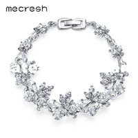 Dhgate Flower Crystal Braceletes para Wome Silver / Gold-Color Rhinestones Bridal Pulseiras Fashion Wedding Party Jewelry SL079