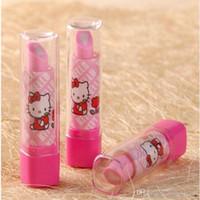 Wholesale Eraser Lipstick Rubber - 3 Style Lipstick Shape Eraser Korean Creative Stationery School Supplies Pupil award Gift Kids Cartoon Erasers