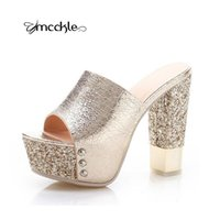 Wholesale Thick Platform Slippers - Luxurious 2016 Thick Summer Style Women Platform Fashion Open Toe Sandals Chunky Wedges High Heels Slipper ladies shoes