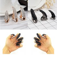 Wholesale Talon False Nails - Claws Ring Retro Punk Rock Crystal Rhinestone Claw Rings False Nail Paw Talon Cat Claw Finger Rings Halloween Cosplay Gift C50L