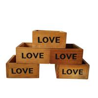 Wholesale Mini Wooden Boxes - Free shipping Wholesale Small Mini Cube Wooden Flower pot Flower planter Wood Box Meat plant Succulent pots